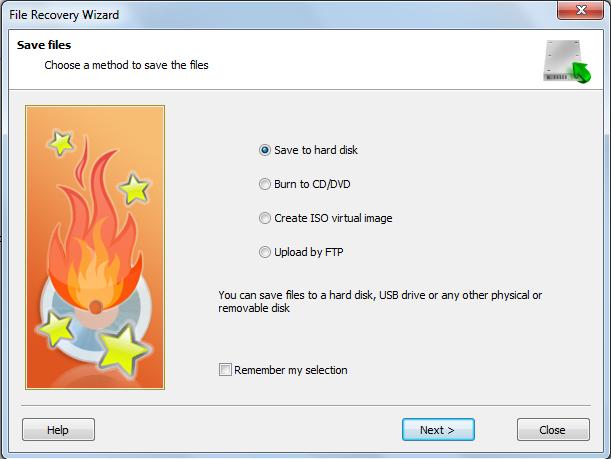Сохранение восстановленных файлов