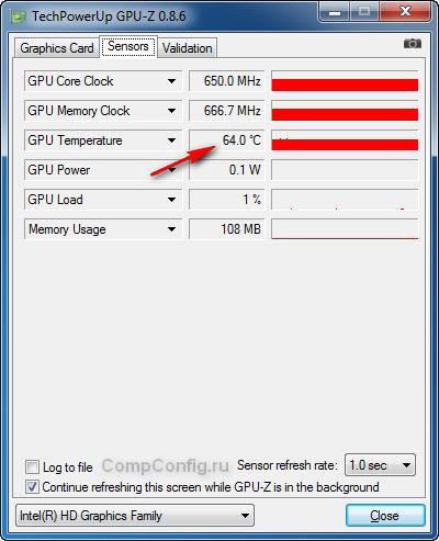 Показания датчиков в GPU-Z