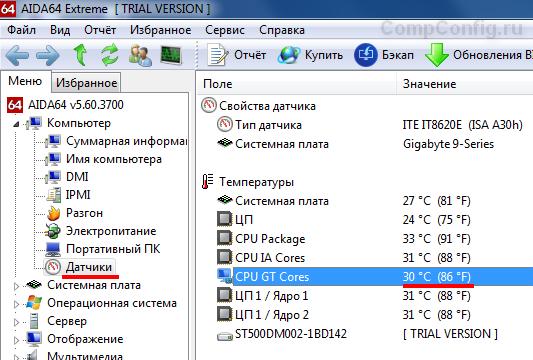 температура видиокарты в aida64