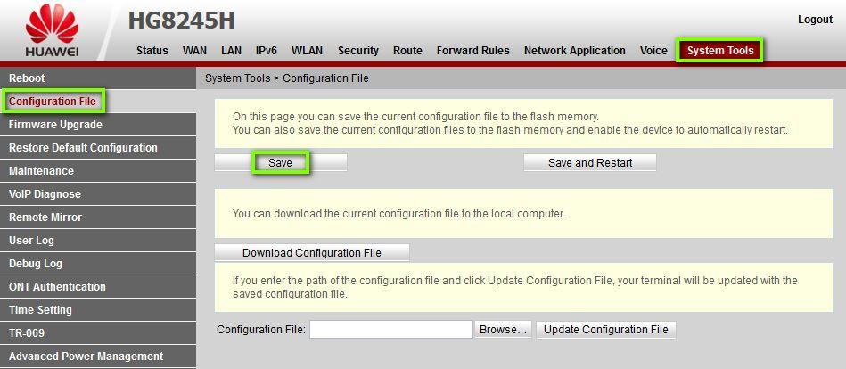 Сохранение файла конфигурации в роутере Huawei HG8245H