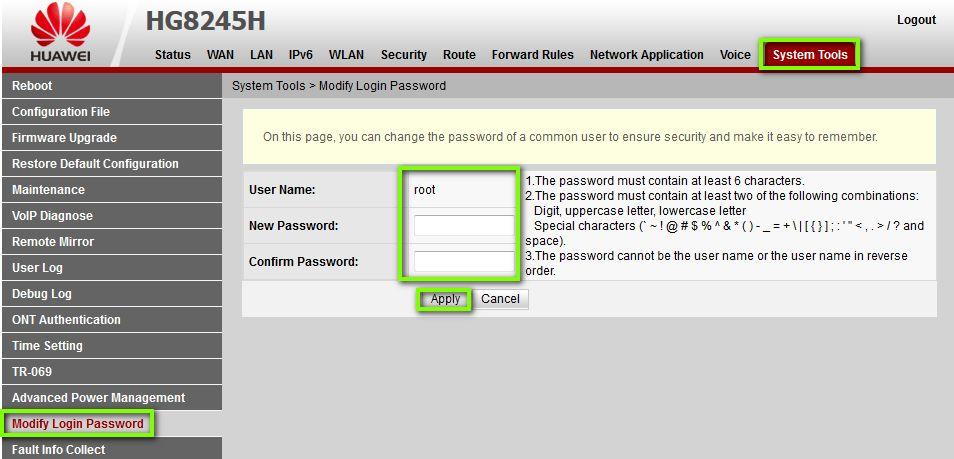 Имзменяем пароль в роутере Huawei HG8245H