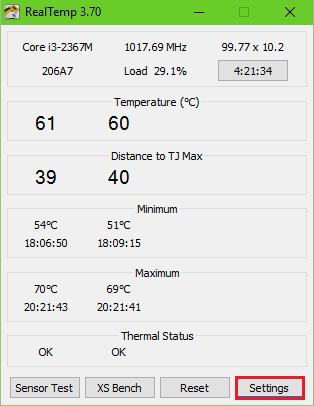 температура процессора ноутбука в Real Temp