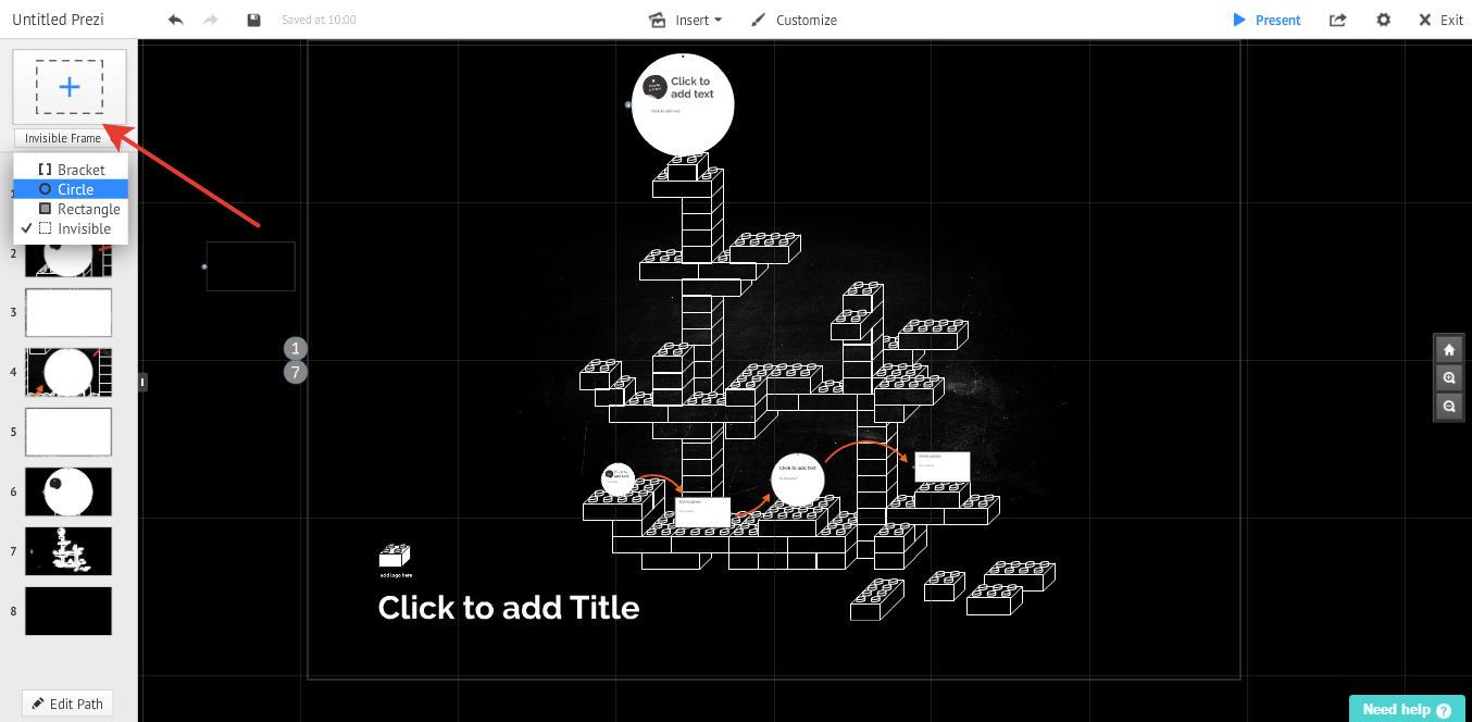 добавление элементов в онлайн презентацию prezi