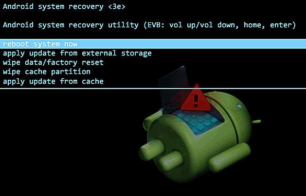 стандартное меню восстановления Android
