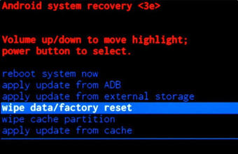 пункт wipe data factory reset