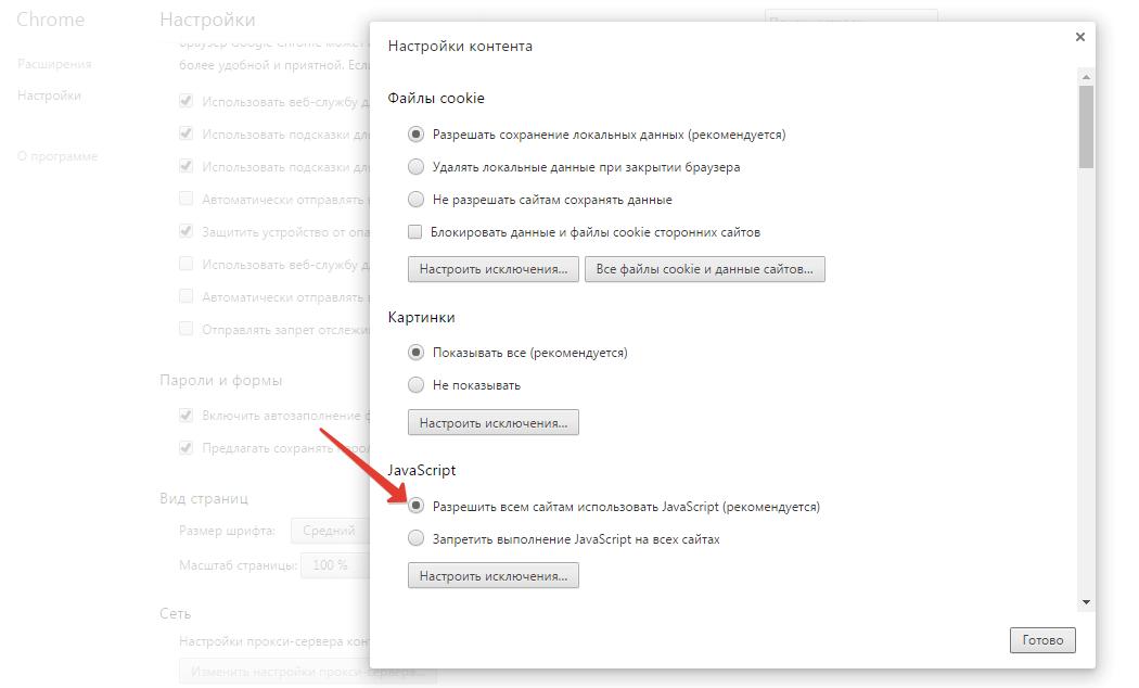 включение Java Script для сайтов