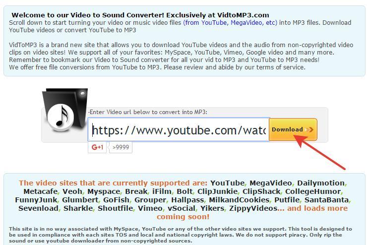 скачивание mp3 из видео в vidtomp3
