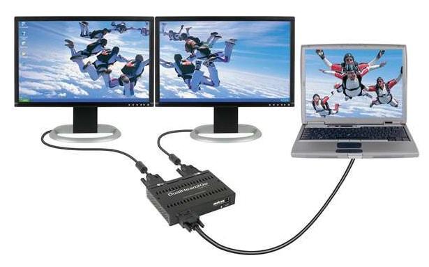 2 монитора подключены к одному ноутбуку