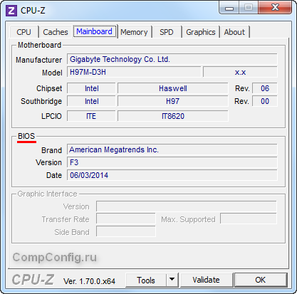 Версия BIOS в CPU-Z