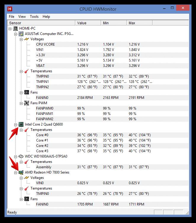 Температура ноутбука в HWMonitor