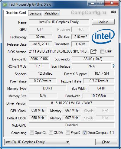 Основная вкладка GPU-Z