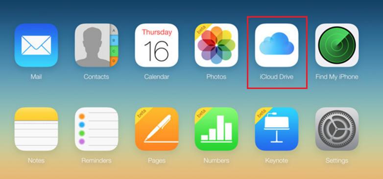 вход в раздел iCloud Drive