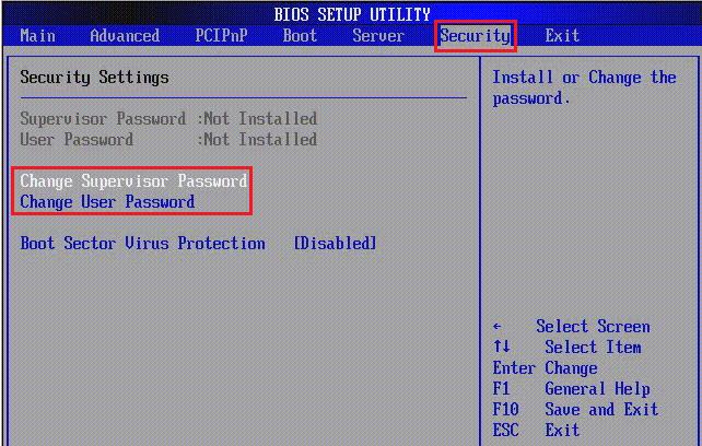 установка пароля в bios ноутбука