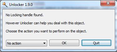 не найдено заблокированных файлов в Unlocker