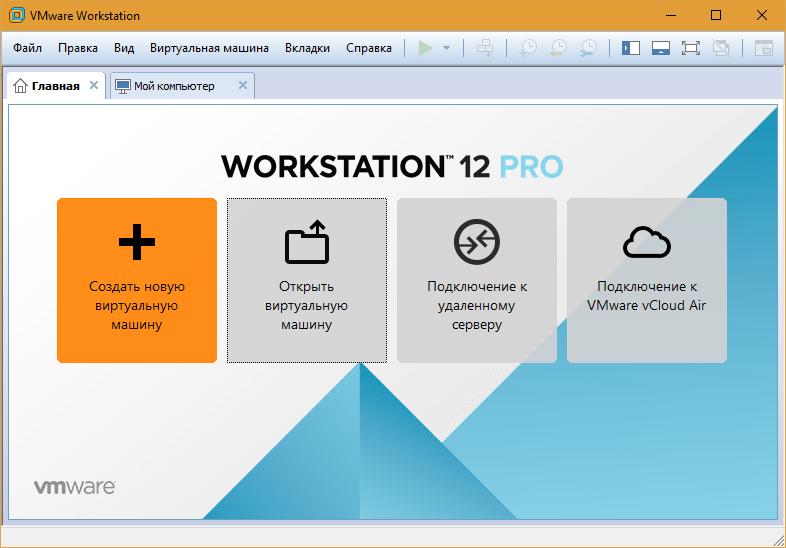главное окно workstation 12 pro