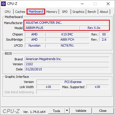 motherboard model cpu-z