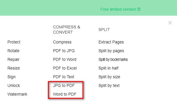 раздел JPG to PDF
