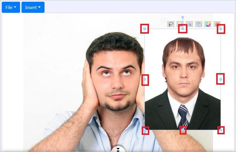 изменение размера фото для замены лица