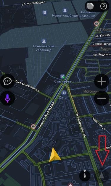 кнопка отображения местоположения