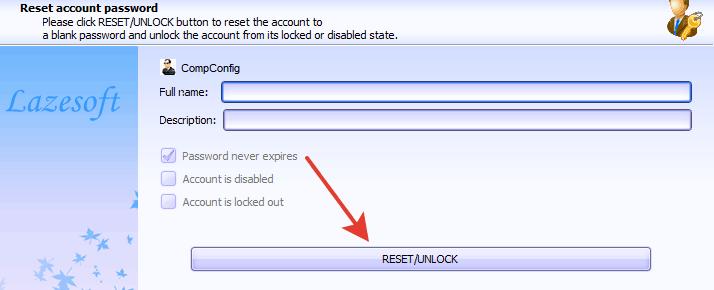 reset account password