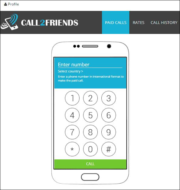 раздел Paid Calls в Call2friends