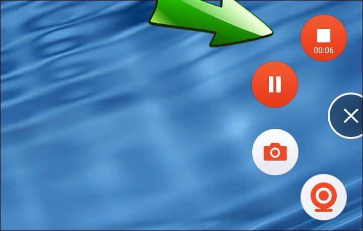кнопки паузы и завершения записи в Mobizen