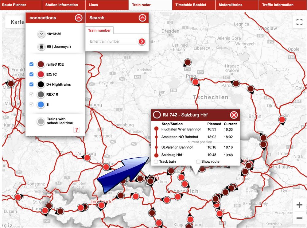 информация о маршруте поезда в австрии