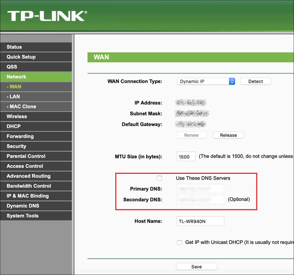 настройка DNS роутера