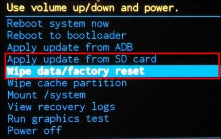 аппаратный сброс Wipe data Factory reset