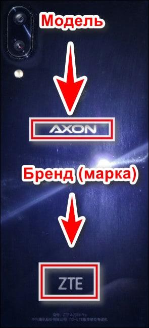 модель и бренд на задней стороне смартфона