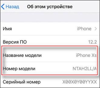название и номер модели айфон