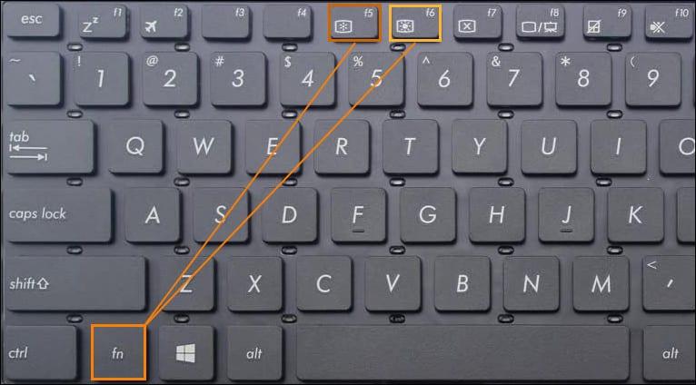 клавиши яркости на ноутбуке Асус